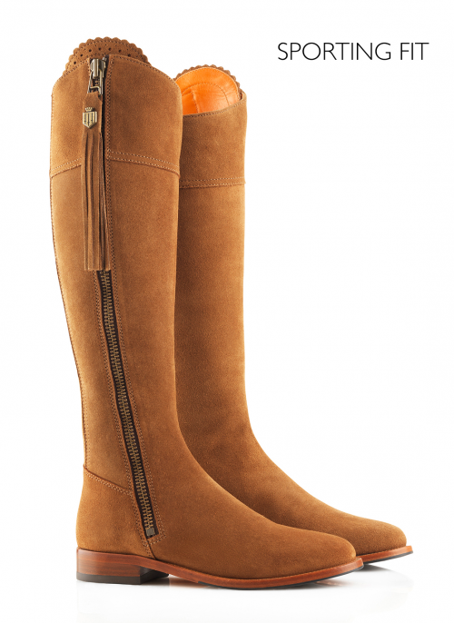 fairfax-and-favor-regina-suede-tan-sporting-fit-ladies-dress-boots