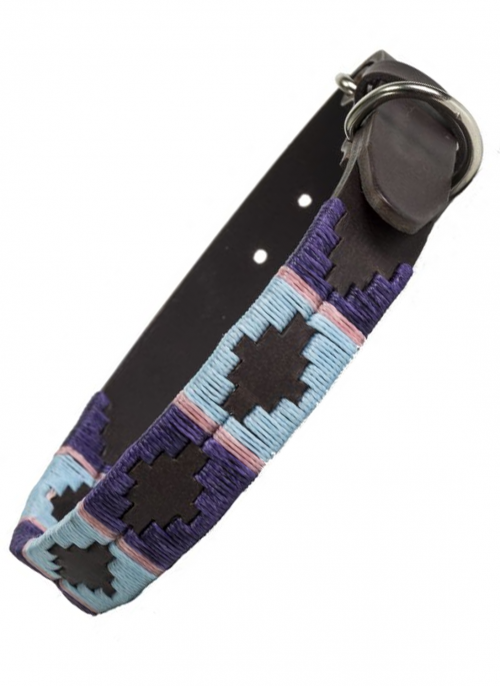 pioneros-pink-purple-blue-polo-dog-collar-bredonhillcountry
