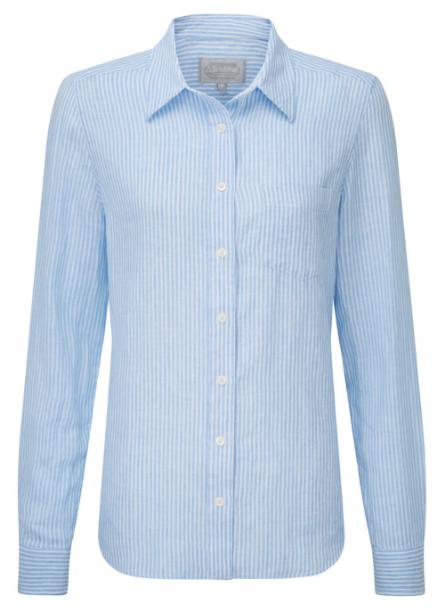 schoffel-saunton-white-blue-stripe-ladies-linen-shirt