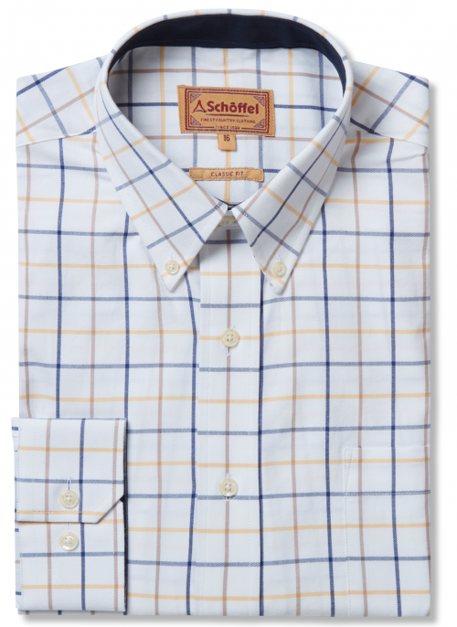 schoffel-brancaster-navy-yellow-brown-wide-check-mens-cotton-shirt